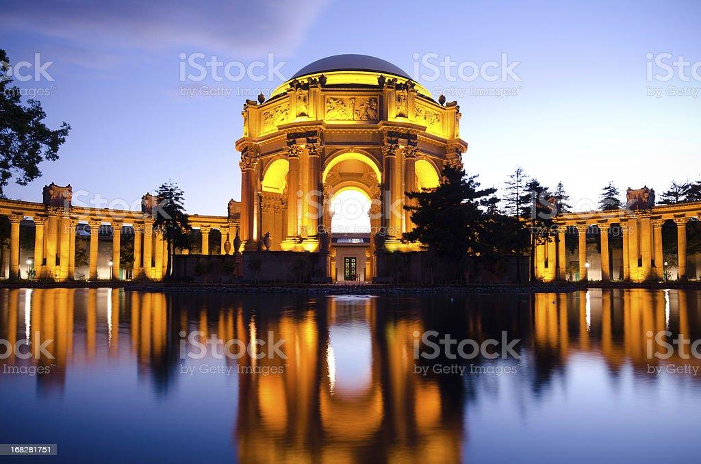 Palace of Fine Arts at night in San Francisco, CA stock photo