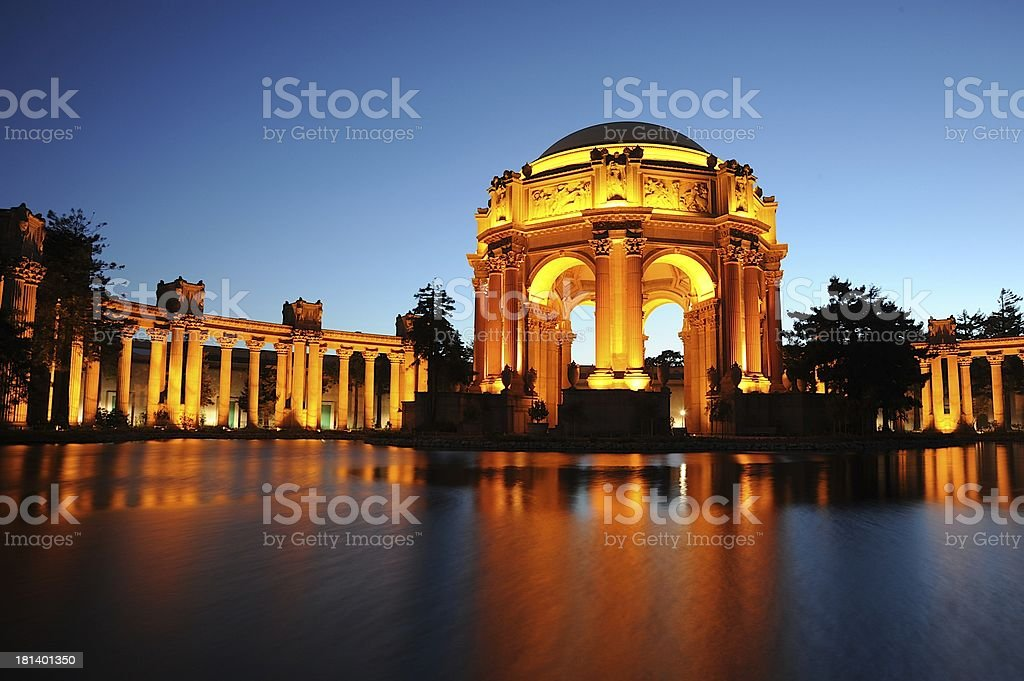 Palace of Fine Arts in the Evening stock photo