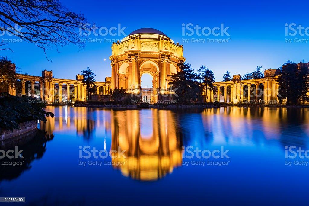 Palace of Fine Arts on a Moonlit Night San Francisco stock photo