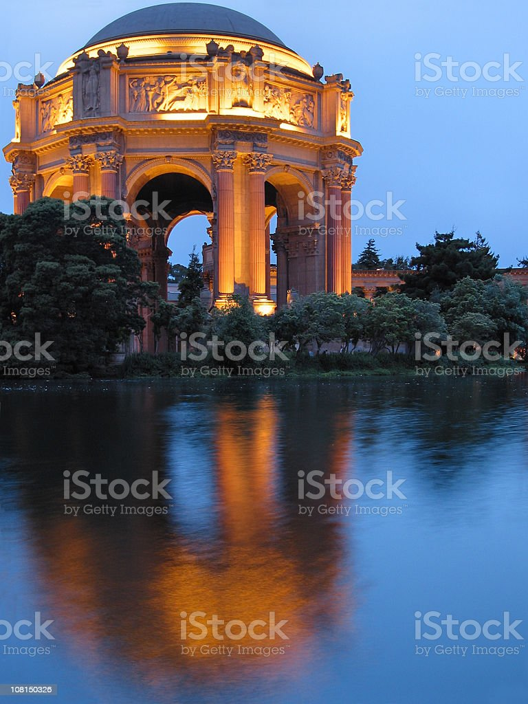 Palace of Fine Arts Reflected on Lagoon at Dusk royalty-free stock photo