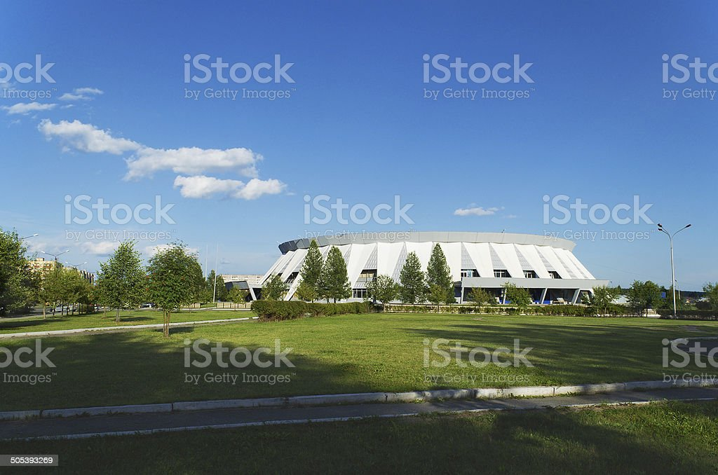 Palace of ice sports  in  Russia. stock photo
