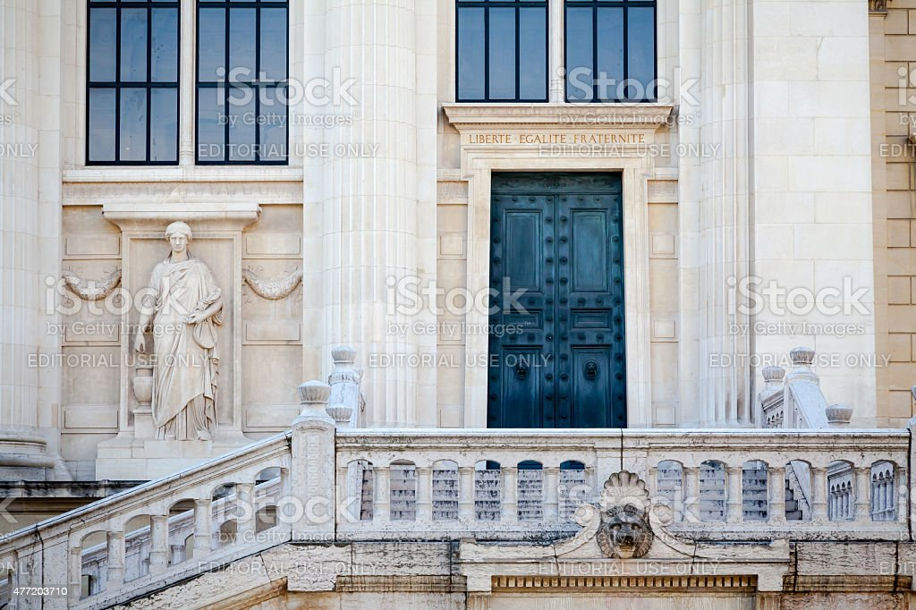 Palais de Justice - Libert? Egalit? Fraternit? stock photo