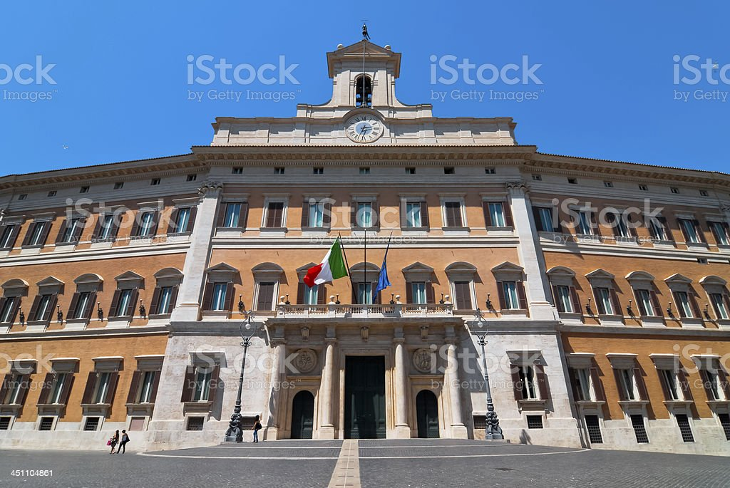 Palace of Montecitorio in Rome royalty-free stock photo