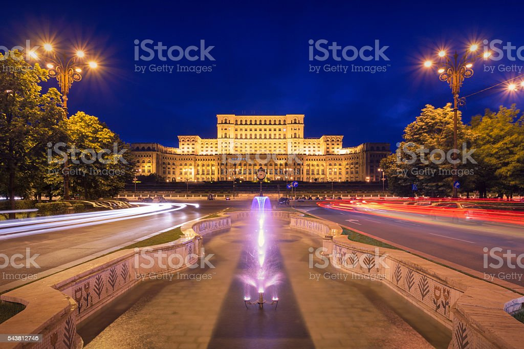 Palace of Parliament at night stock photo