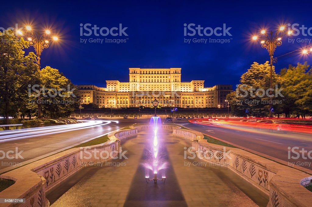 Palace of Parliament at night stock photo