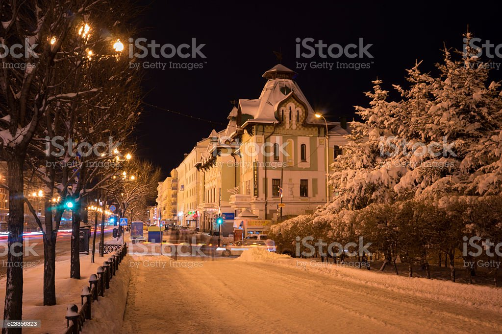 Palace of pioneers in Khabarovsk with snoq covered spruces stock photo