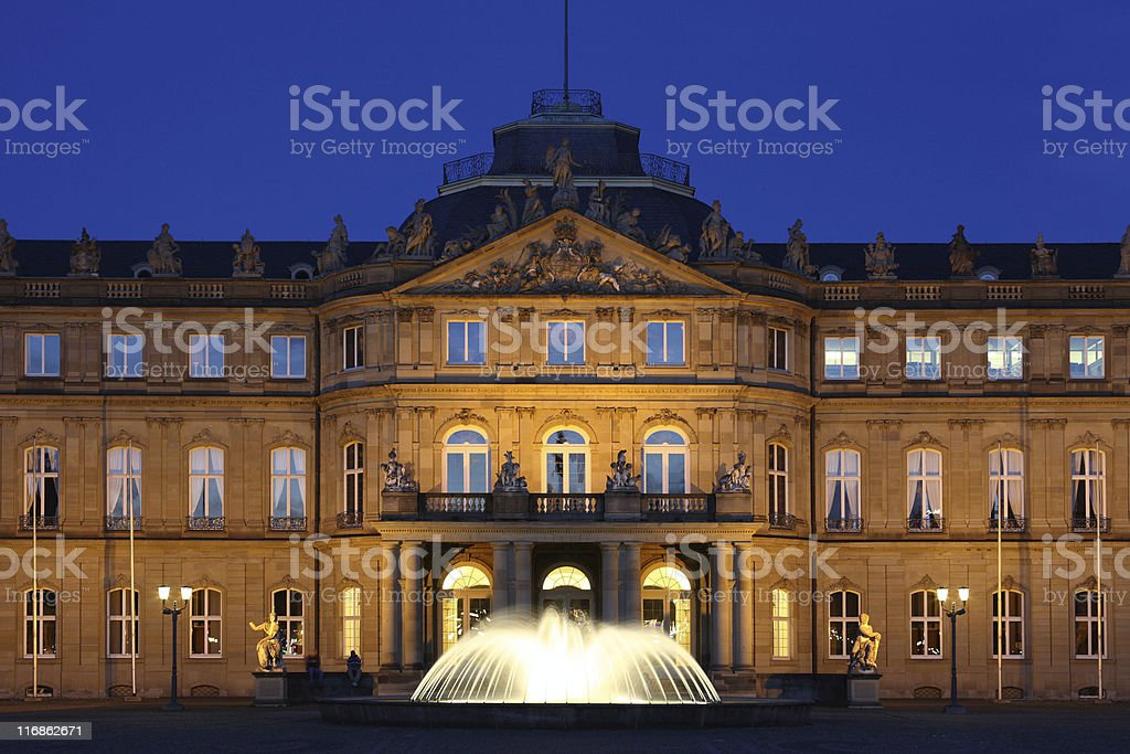 Palace of Stuttgart Blue Hour royalty-free stock photo
