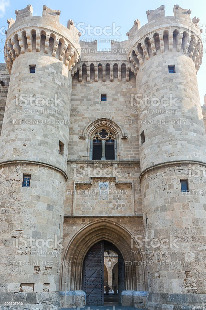 Palace of the Grand Master of Knights in Rhodes, Greece stock photo
