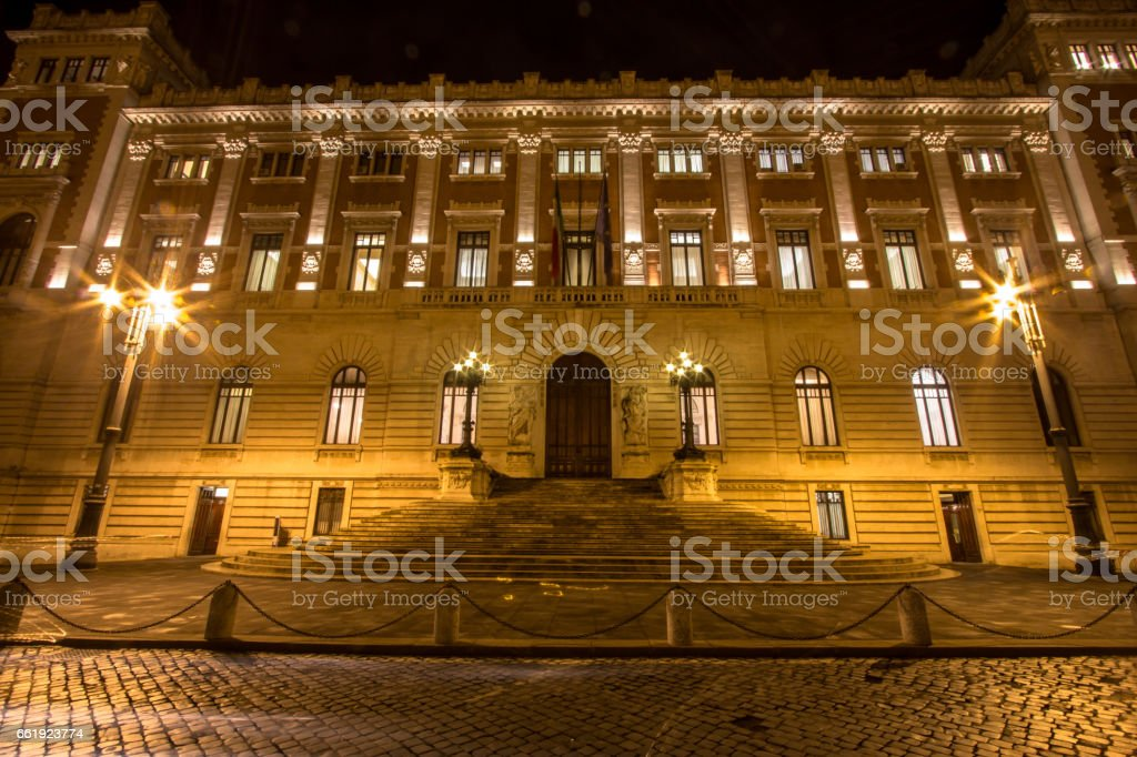Palace of the Italian Government Montecitorio in Rome stock photo