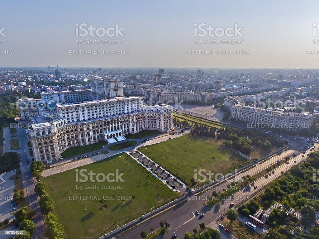 Palace of the Parliament Aerial stock photo