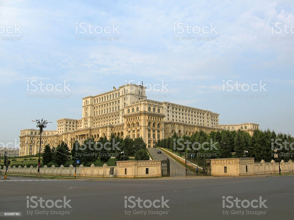 Palace Of The Parliament - angle view royalty-free stock photo