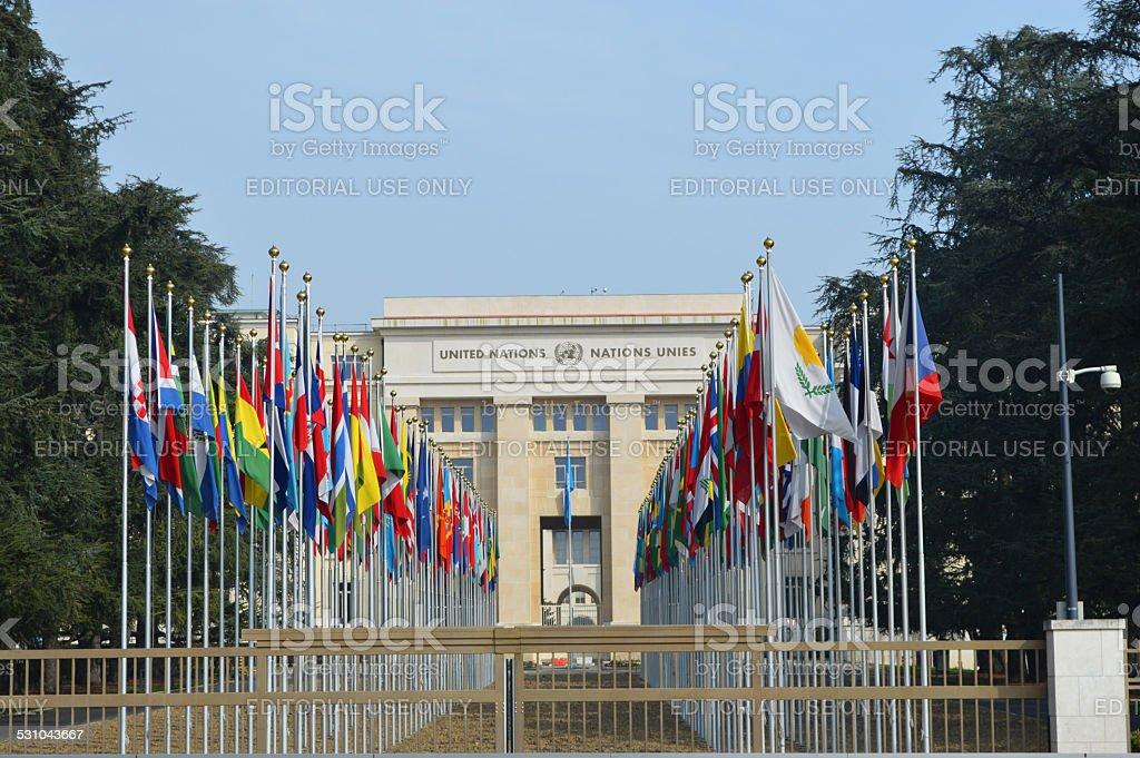Palacio de las Naciones Unidas en Ginebra foto de stock libre de derechos