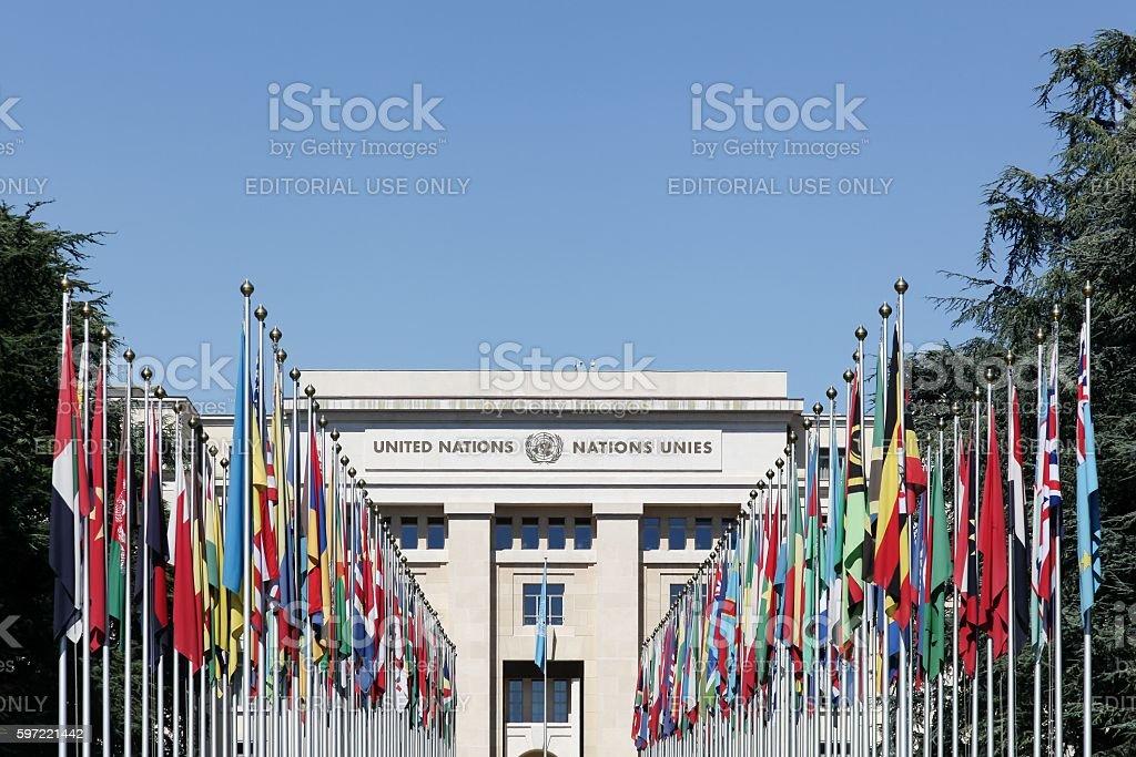 Palace of United Nations in Geneva, Switzerland stock photo
