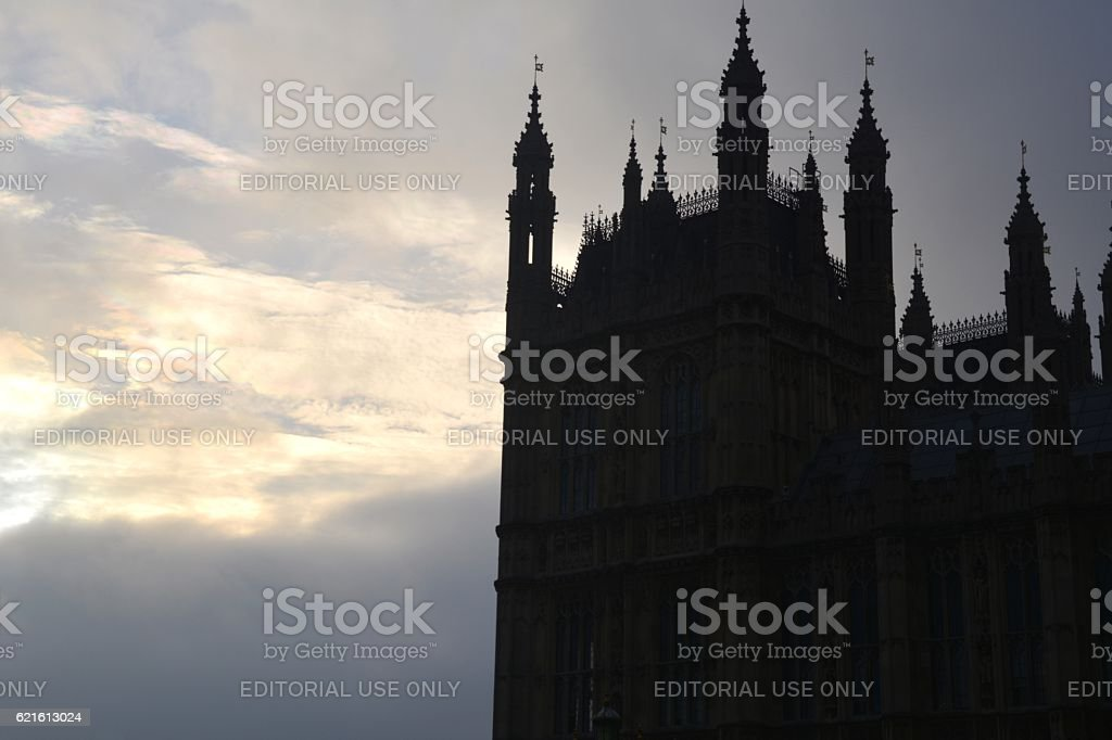 Palace of Westminster against the morning sky, London stock photo