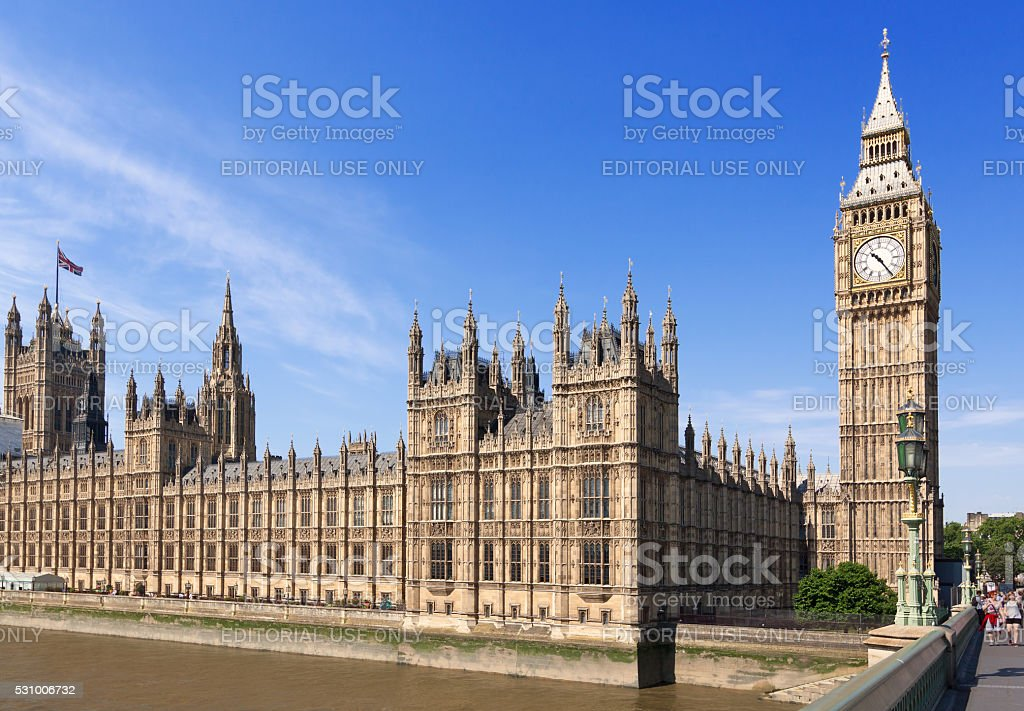 Palace of Westminster (Houses of Parliament) and Big Ben, London. stock photo