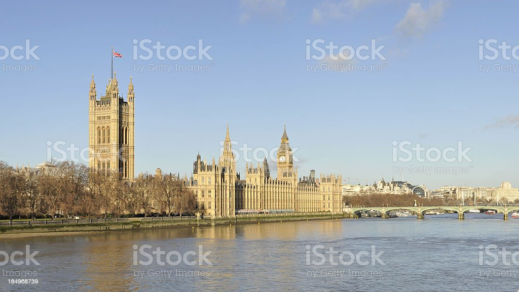 Palace of Westminster and River Thames. London England. royalty-free stock photo