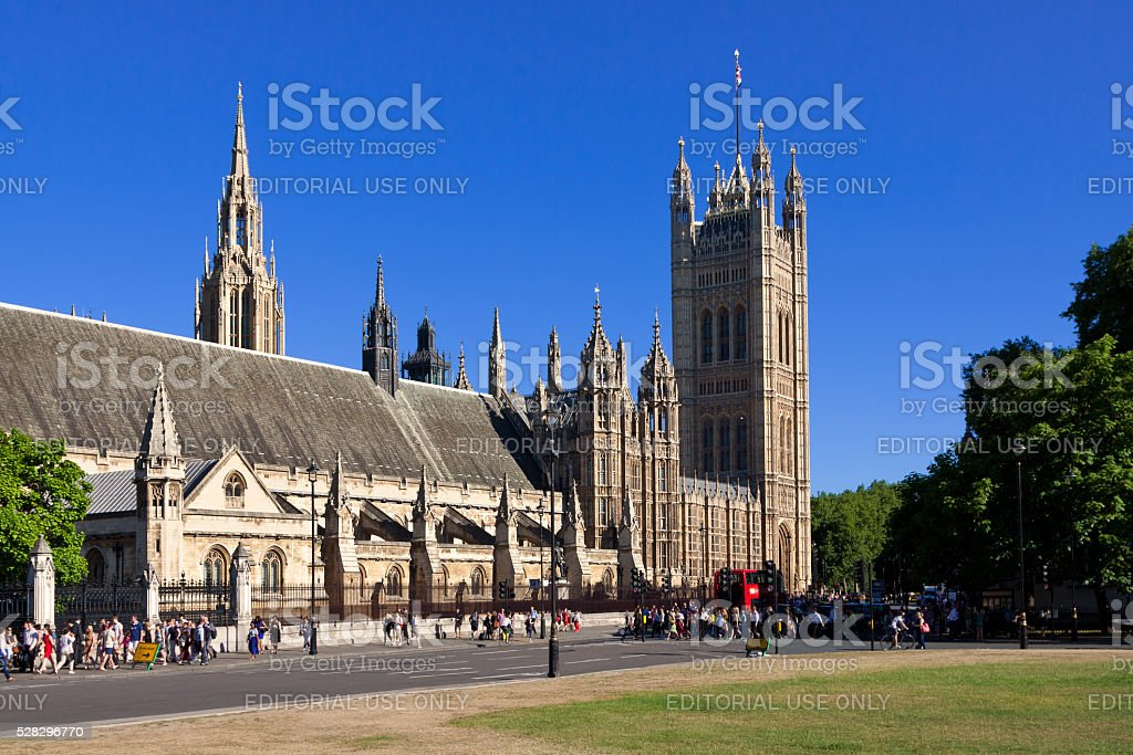 Palace of Westminster (Houses of Parliament) and Victoria Tower, London. stock photo