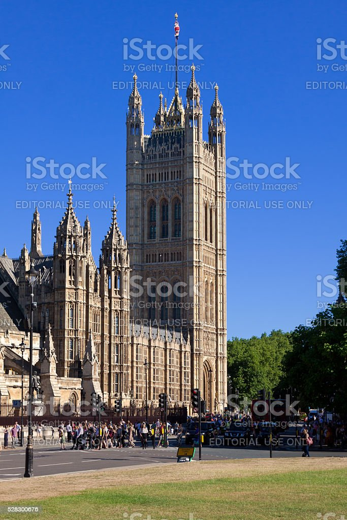 Palace of Westminster and Victoria Tower, London, England, UK. stock photo