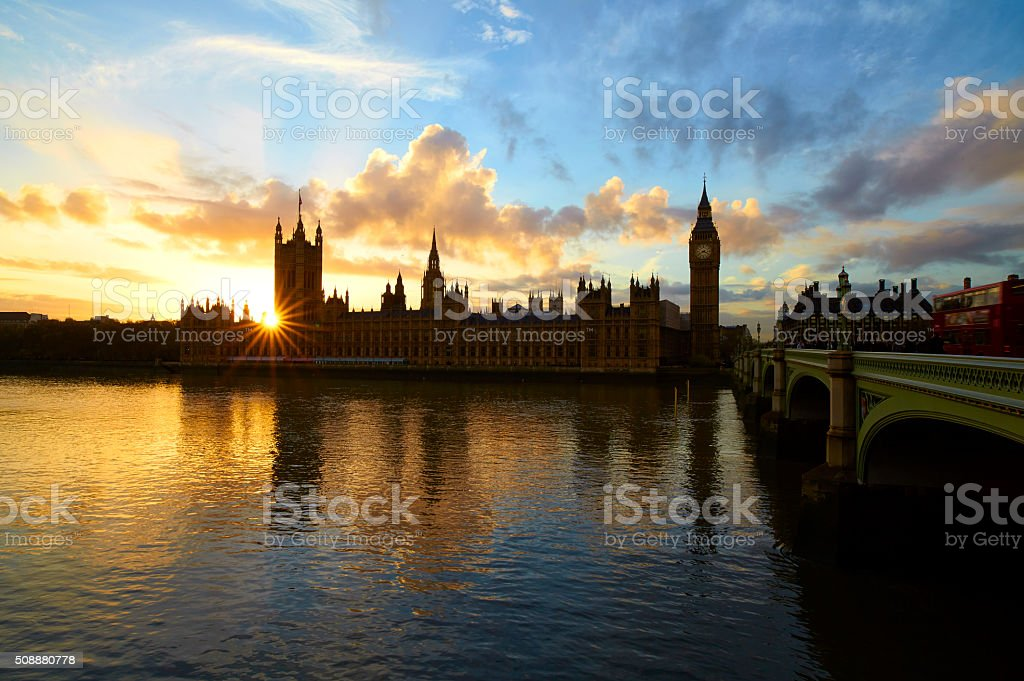 Palace Of Westminster At Sunset stock photo