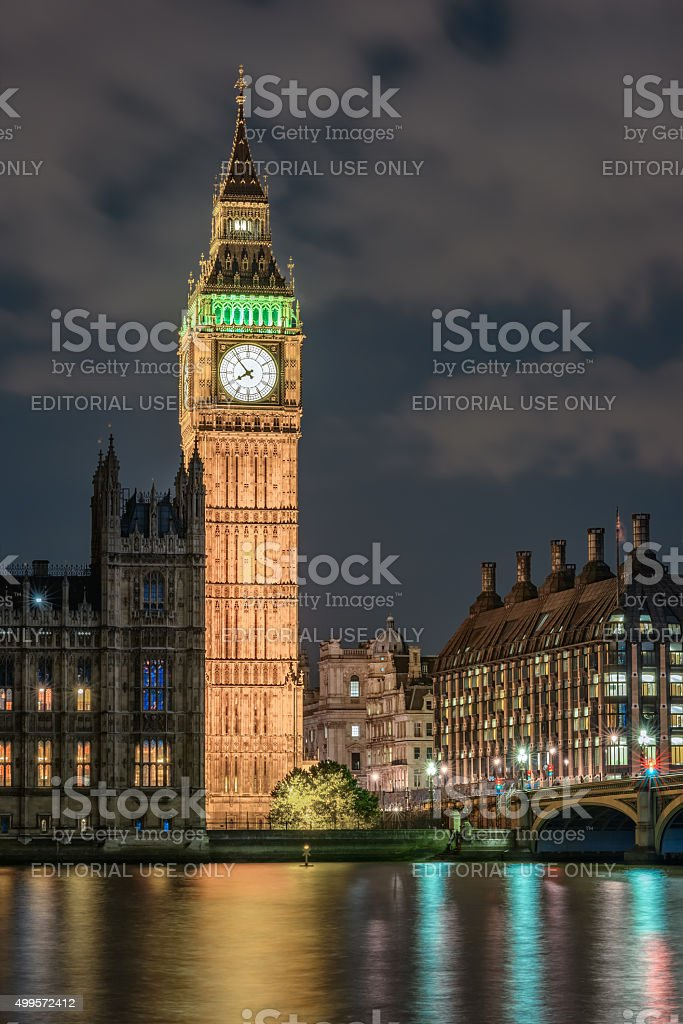 Palace of Westminster in London at night stock photo
