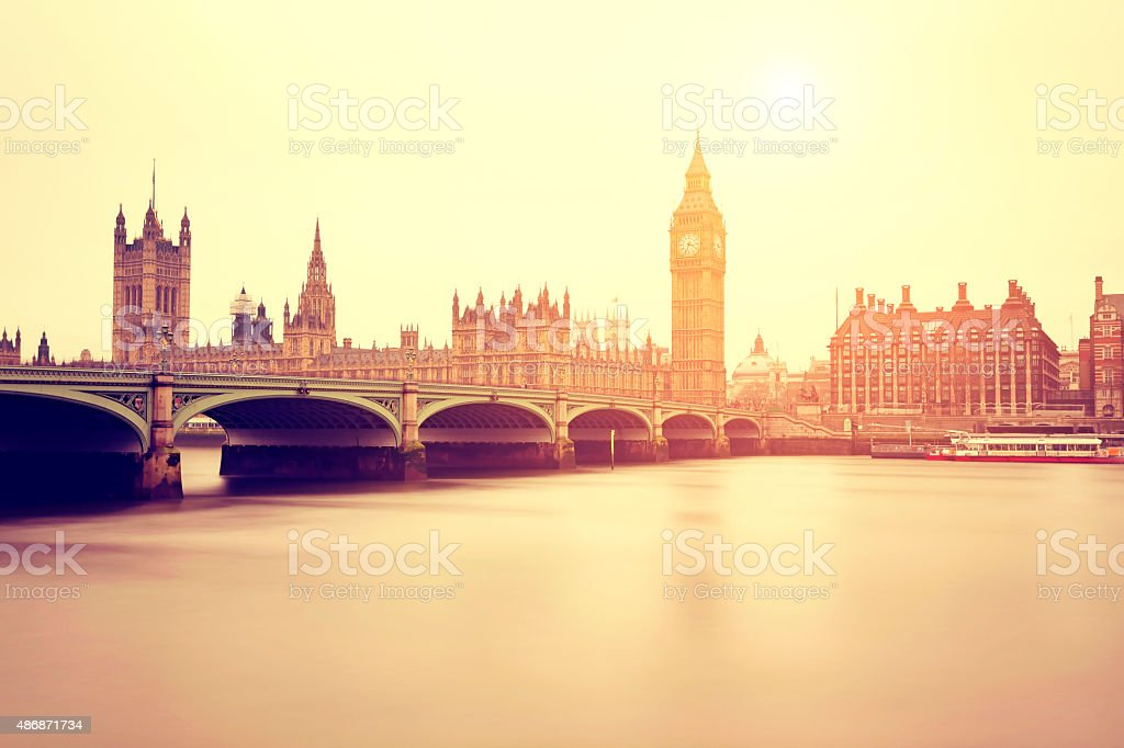 Palace of Westminster in London stock photo