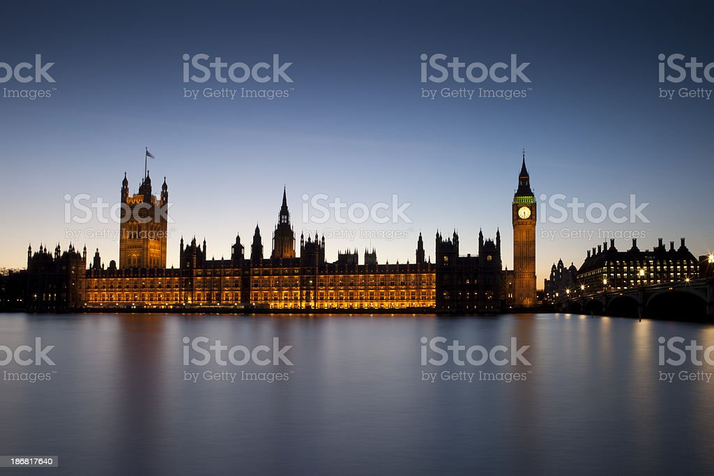 Palace of westminster, London, at Dusk royalty-free stock photo