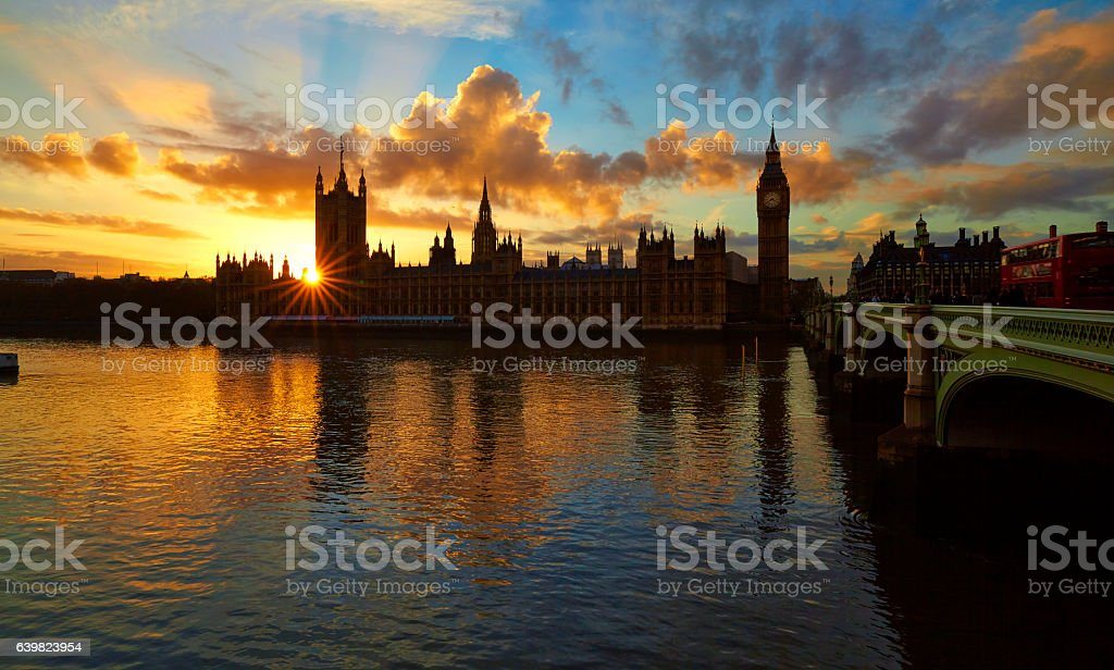 Palace Of Westminster Sunset stock photo
