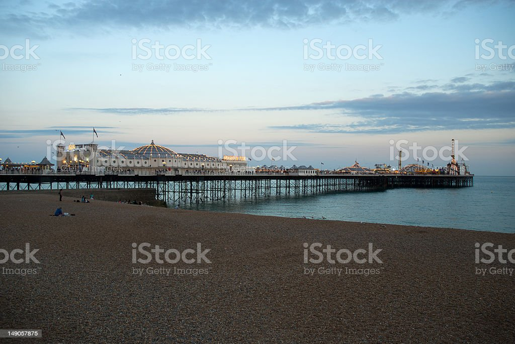 Palace Pier Brighton at dusk - wide stock photo