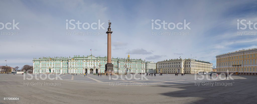 Palace Square in St. Petersburg panoramic view stock photo