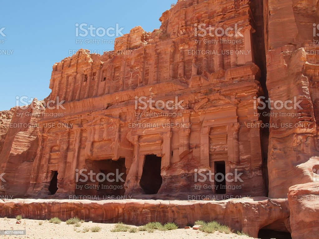 Palace tomb in the ancient city of Petra stock photo