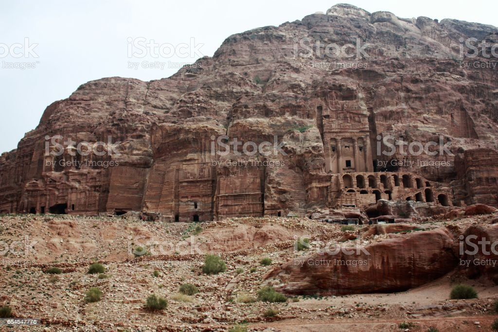 Palace tombs in ancient Nabatean city of Petra, Jordan Middle East stock photo