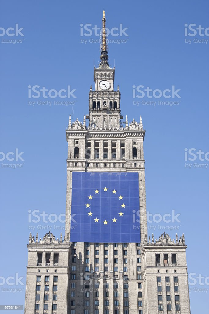 Palace with EU flag royalty-free stock photo