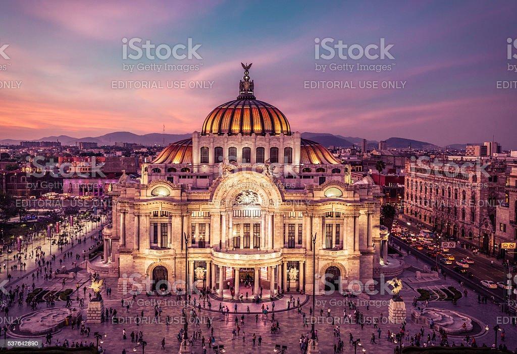 Palacio de bellas Artes, Night Panoramic View stock photo