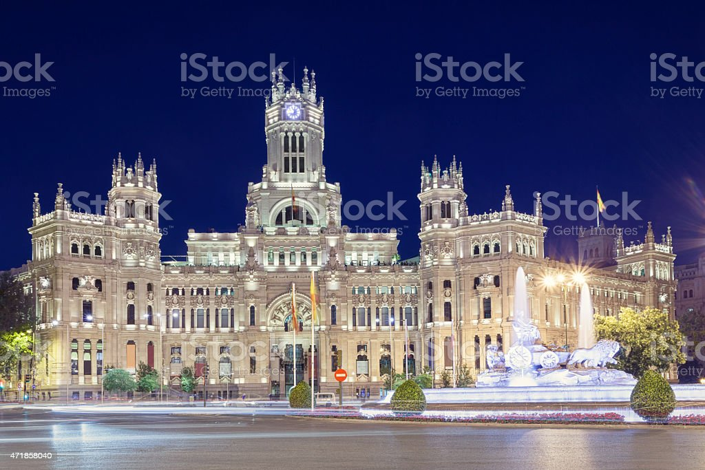 Palacio de Cibeles, the city hall of Madrid stock photo