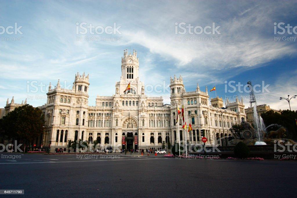 Palacio de Comunicaciones at Plaza de Cibeles in Madrid, Spain stock photo