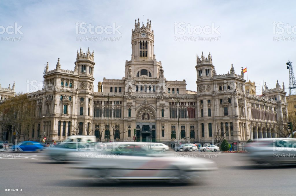 Palacio de Comunicaciones  with Motion Blur of Traffic stock photo