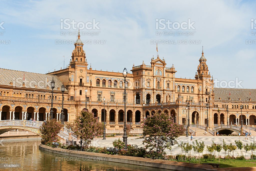 Palacio Espanol in Plaza de Espana, Seville royalty-free stock photo
