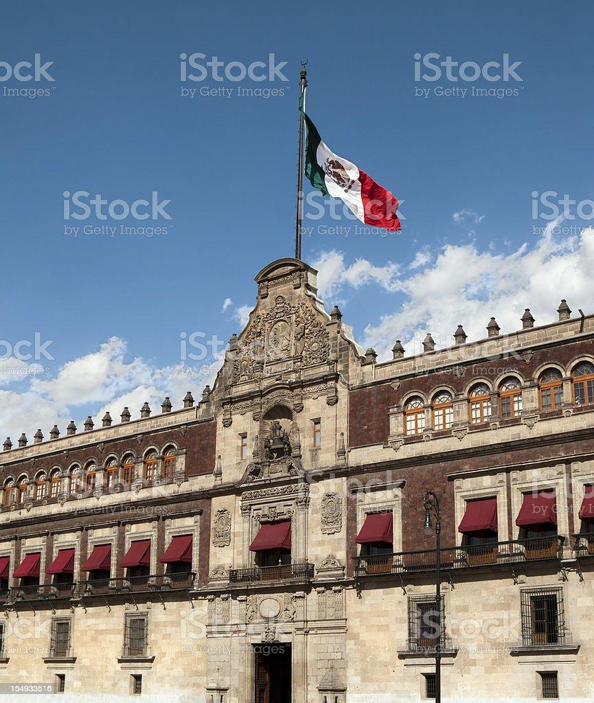 Palacio Nacional (National Palace) flag, Mexico City stock photo