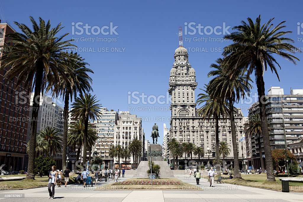 Palacio Salvo Building, downtown Montevideo, Uruguay, South Amer stock photo