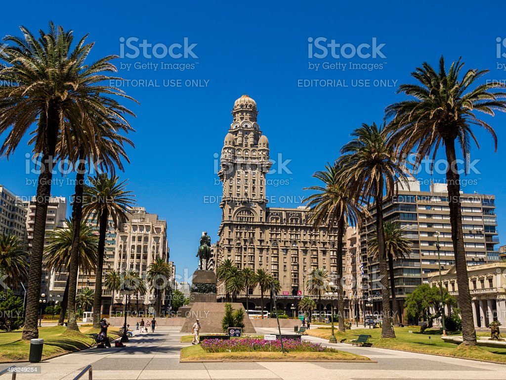 Palacio Salvo seen from Plaza Independencia in Montevideo, Uruguay stock photo