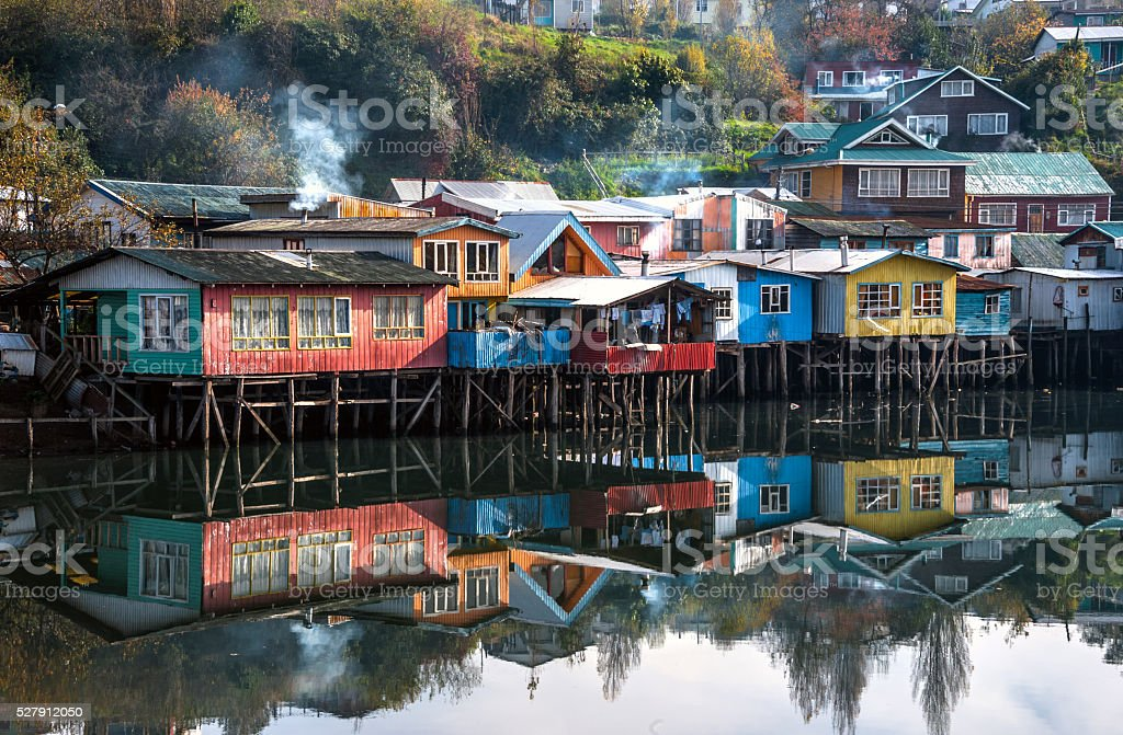 Palafitos Houses, Patagonia, Chiloe, Chile stock photo