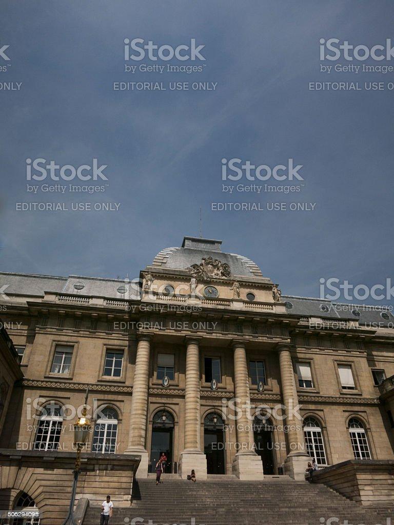 Palais de Justice in Paris facade stock photo