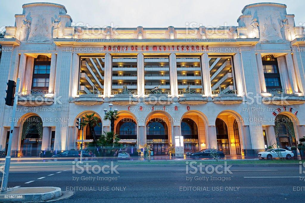 Palais de la Mediterranee hotel in Nice France stock photo