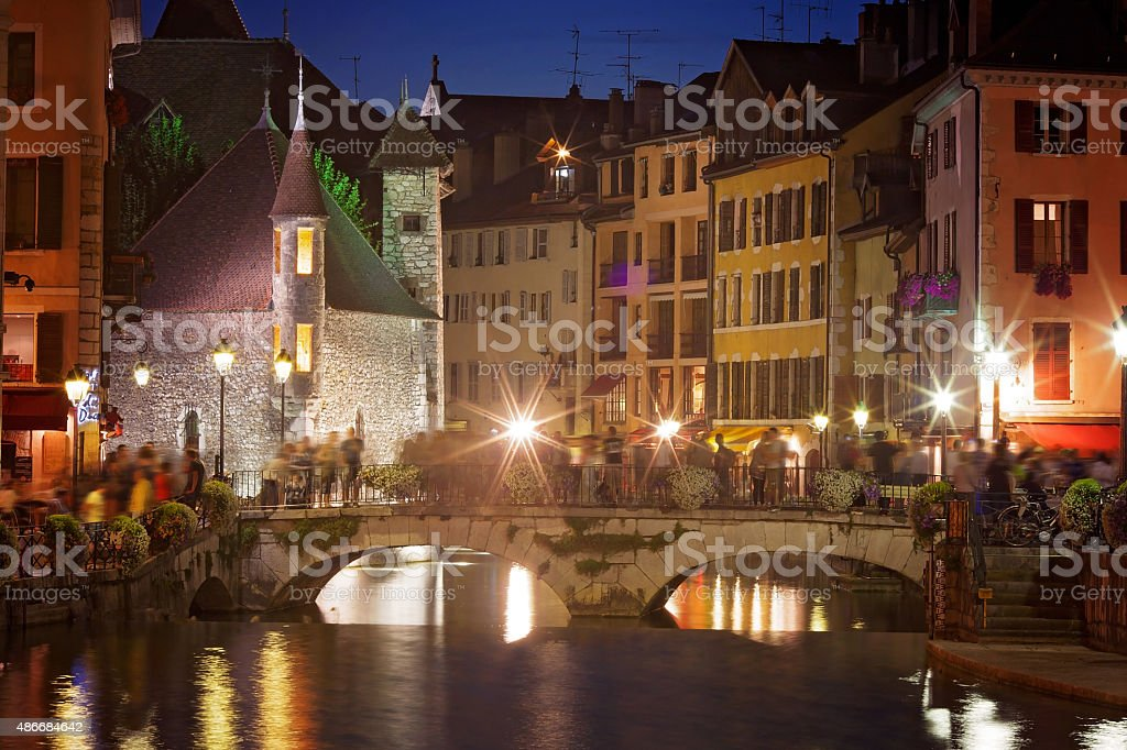 Palais de l'isle by night in Annecy - France stock photo