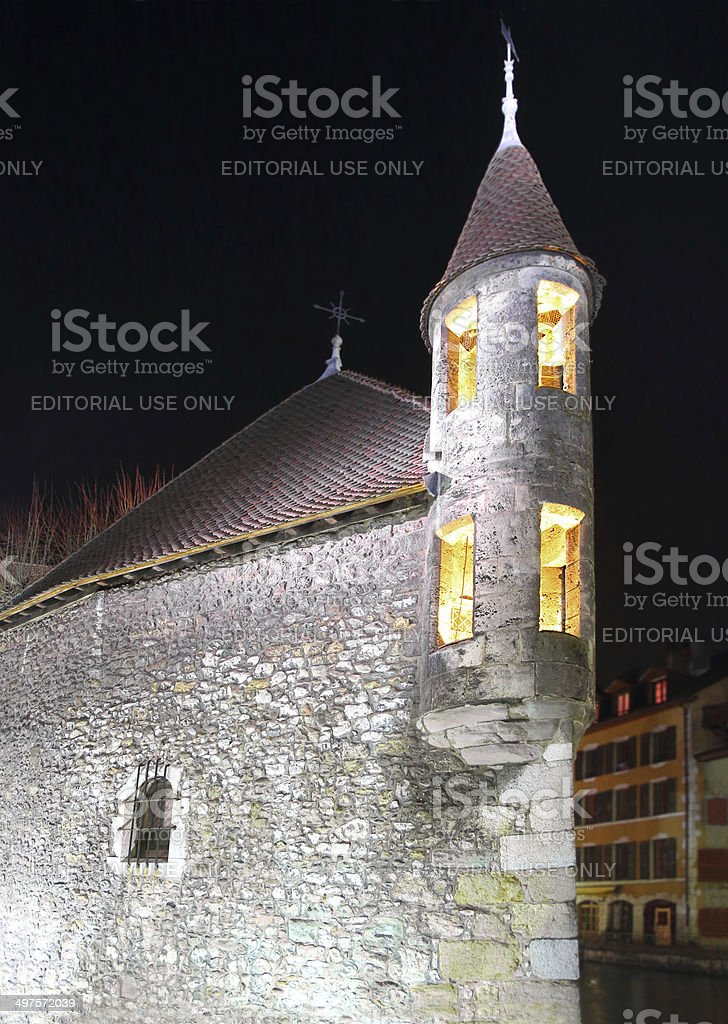 Palais de l'Isle in Annecy by night royalty-free stock photo
