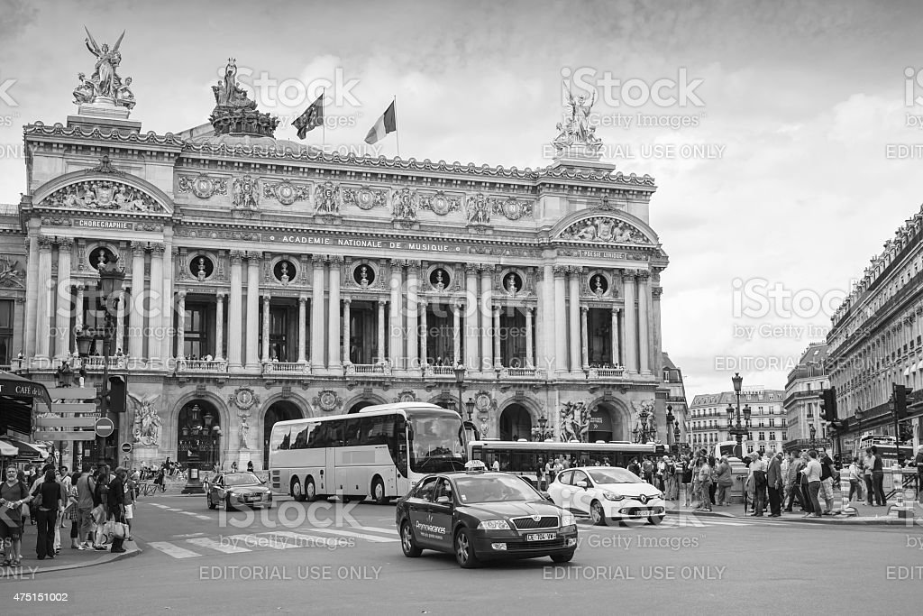 Palais Garnier, Opera house in Paris, monochrome stock photo