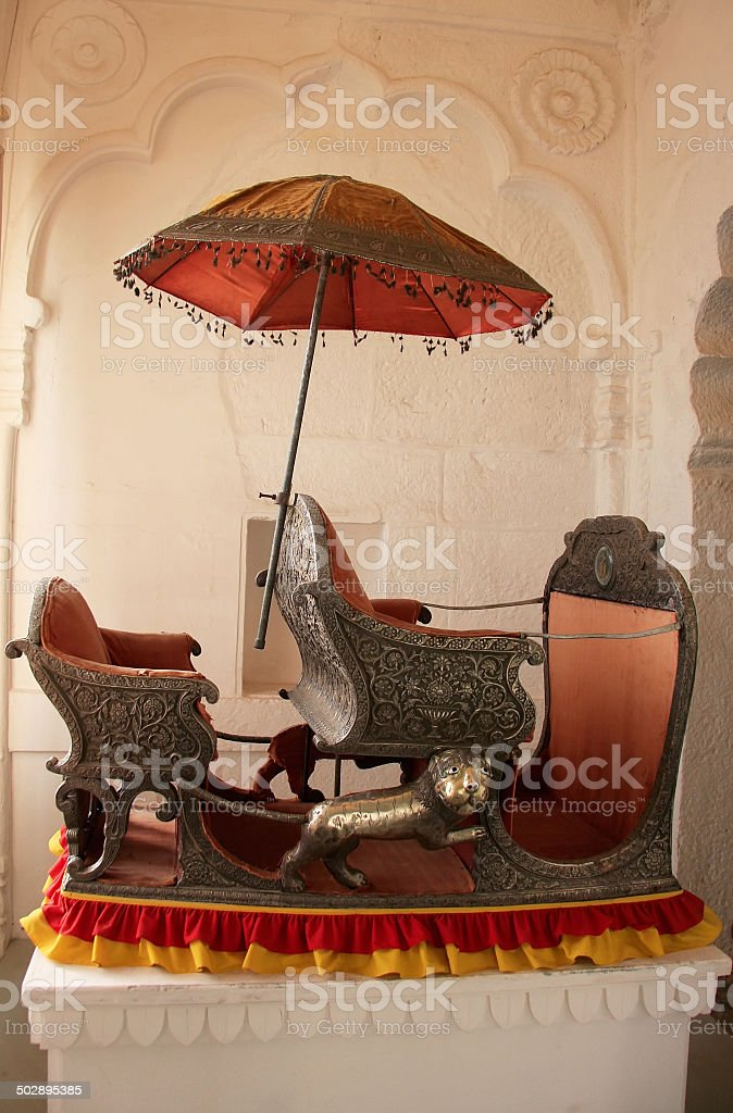 Palanquin on display at Mehrangarh Fort museum, Jodhpur, India stock photo