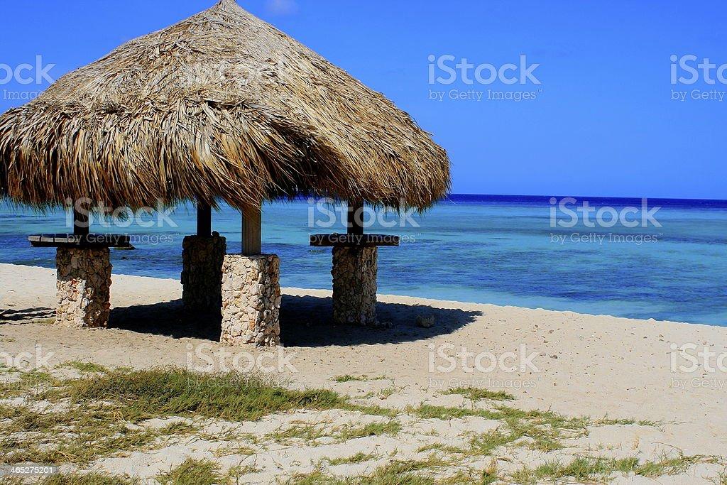 Palapa in Aruba and turquoise blue caribbean sea stock photo