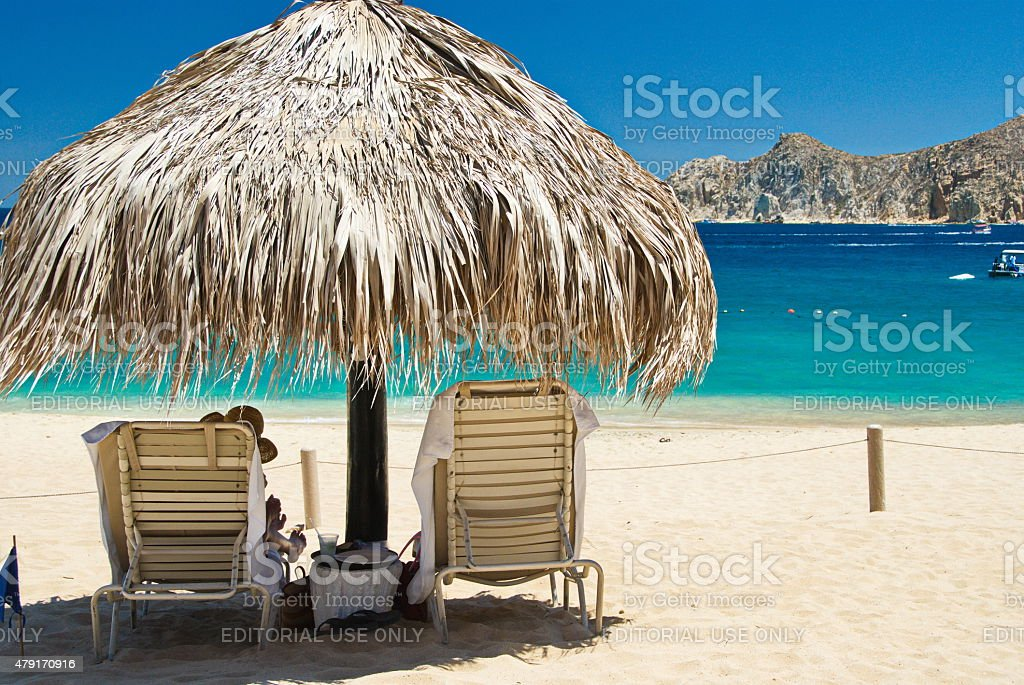 Palapa on the Beach stock photo