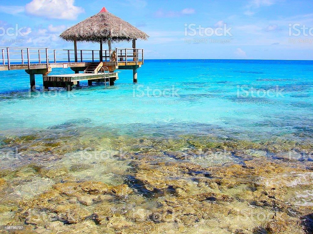 Palapa Pier in Rangiroa turquoise sea, French Polynesia stock photo